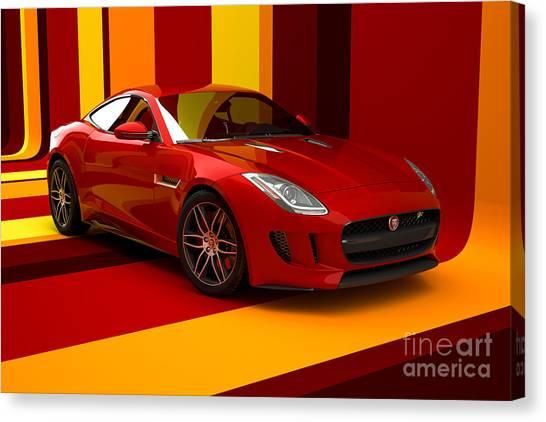 Jaguar F-type - Red Retro Canvas Print