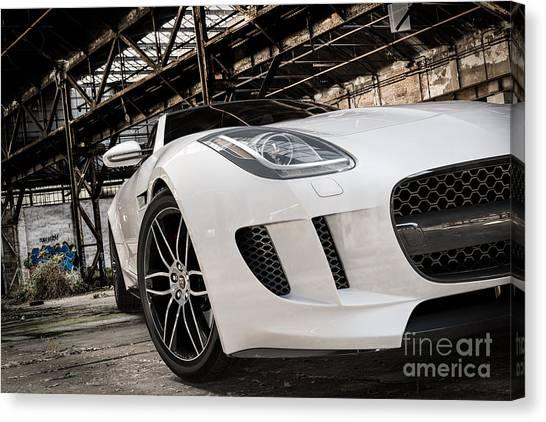 Jaguar F-type - White - Front Close-up Canvas Print