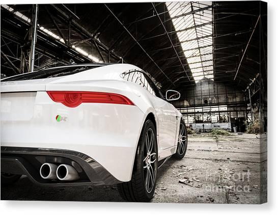 Jaguar F-type - White - Rear Close-up Canvas Print
