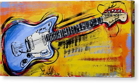 Canvas Print featuring the painting Jaguar Fender Guitar by John Gibbs