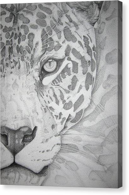 Jaguar Pointillism Canvas Print