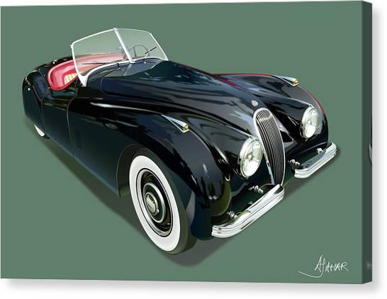 Jaguar Xk 120 Illustration Canvas Print