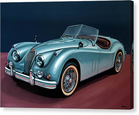 Swallow Canvas Print - Jaguar Xk140 1954 Painting by Paul Meijering