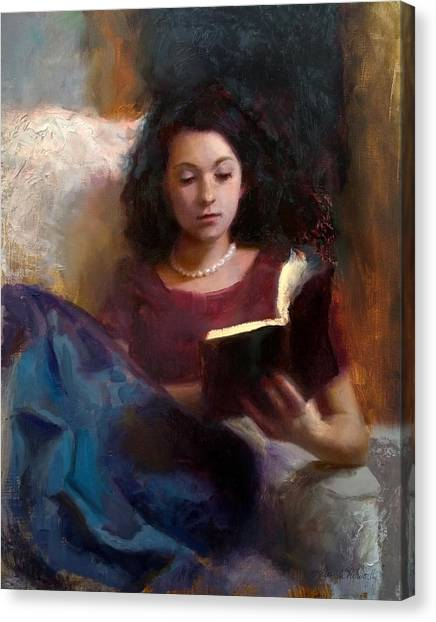 Jaidyn Reading A Book 1 - Portrait Of Young Woman Canvas Print