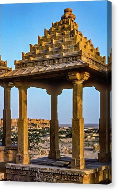 Thar Desert Canvas Print - Jaisalmer Chhatri 3 by Steve Harrington