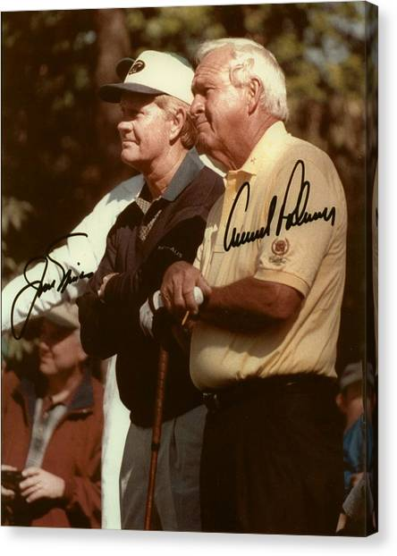 Arnold Palmer Canvas Print - Jakc Nicklaus An Arnold Palmer 2000 Masters Sign by Peter Nowell