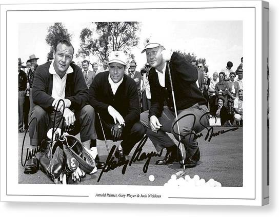 Arnold Palmer Canvas Print - Jakc Nicklaus, Gary Player Amd Arnold Palmer 1962 Masters by Peter Nowell