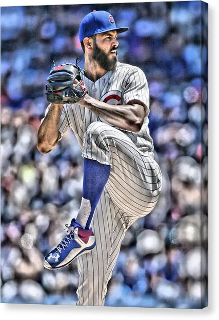 Chicago Cubs Canvas Print - Jake Arrieta Chicago Cubs by Joe Hamilton