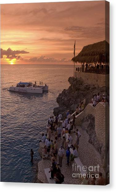 Canvas Print featuring the photograph Jamaica Negril Ricks Cafe by Juergen Held