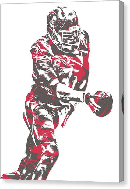 Tampa Bay Buccaneers Canvas Print - Jameis Winston Tampa Bay Buccaneers Pixel Art 6 by Joe Hamilton