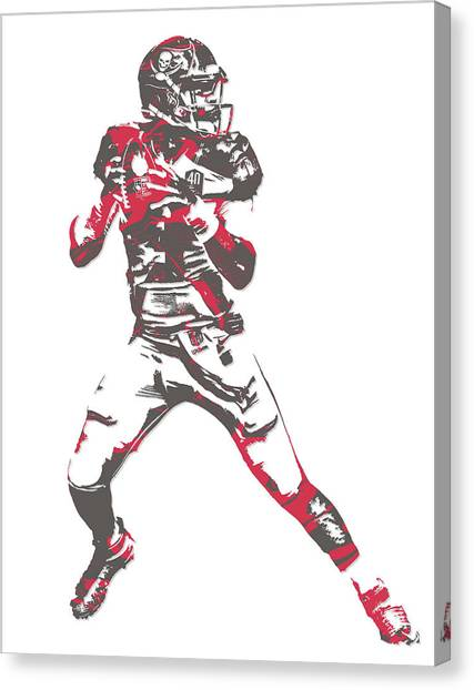 Tampa Bay Buccaneers Canvas Print - Jameis Winston Tampa Bay Buccaneers Pixel Art 7 by Joe Hamilton