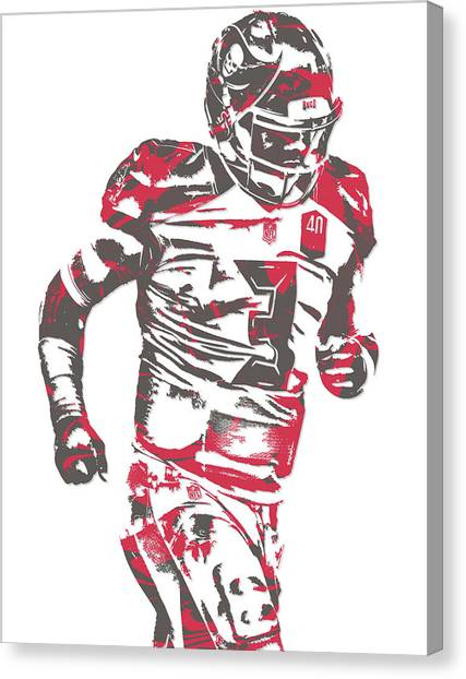 Tampa Bay Buccaneers Canvas Print - Jameis Winston Tampa Bay Buccaneers Pixel Art 8 by Joe Hamilton