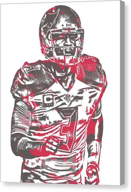 Tampa Bay Buccaneers Canvas Print - Jameis Winston Tampa Bay Buccaneers Pixel Art 9 by Joe Hamilton