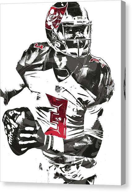 Tampa Bay Buccaneers Canvas Print - Jameis Winston Tampa Bay Buccaneers Pixel Art by Joe Hamilton
