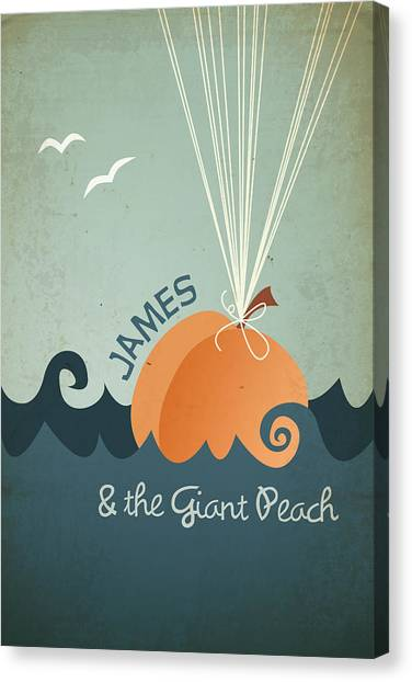 Vintage Canvas Print - James And The Giant Peach by Megan Romo