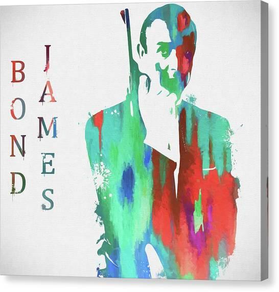 Goldeneye 007 Canvas Print - James Bond Paint Splatter by Dan Sproul