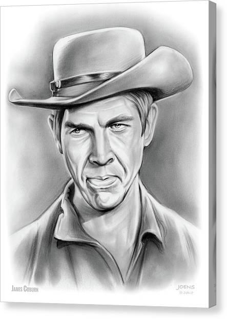 Cowboy Canvas Print - James Coburn by Greg Joens
