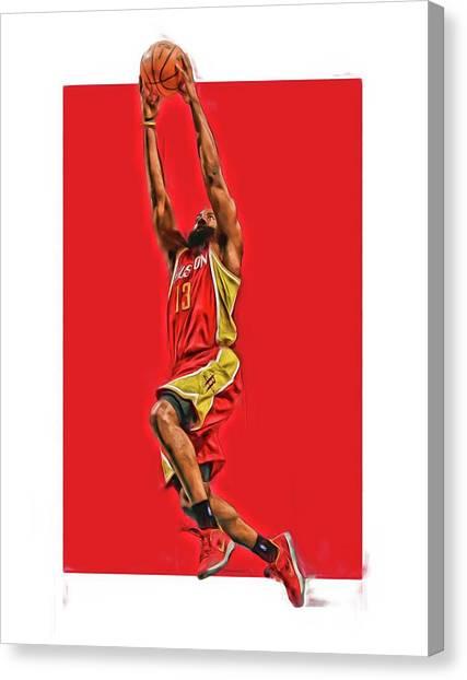 Houston Rockets Canvas Print - James Harden Houston Rockets Oil Art by Joe Hamilton
