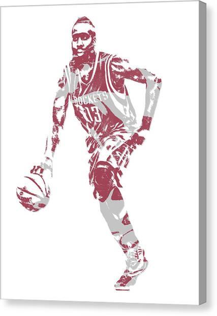 Houston Rockets Canvas Print - James Harden Houston Rockets Pixel Art 20 by Joe Hamilton