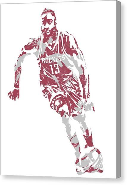 Houston Rockets Canvas Print - James Harden Houston Rockets Pixel Art 21 by Joe Hamilton