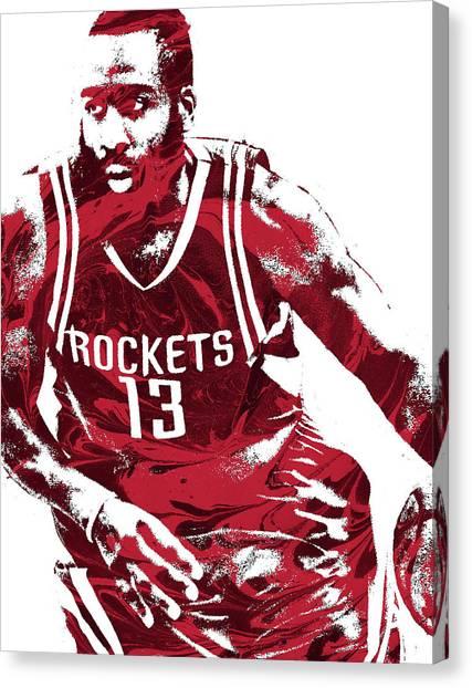 Basketball Teams Canvas Print - James Harden Houston Rockets Pixel Art 3 by Joe Hamilton