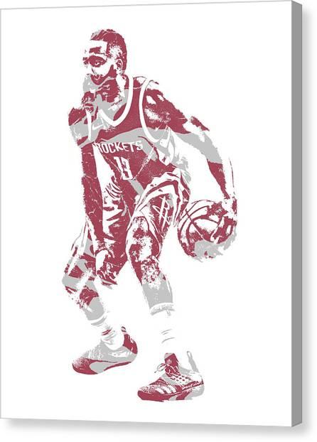 Houston Rockets Canvas Print - James Harden Houston Rockets Pixel Art 35 by Joe Hamilton