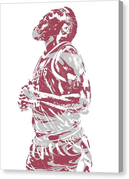 Houston Rockets Canvas Print - James Harden Houston Rockets Pixel Art 36 by Joe Hamilton