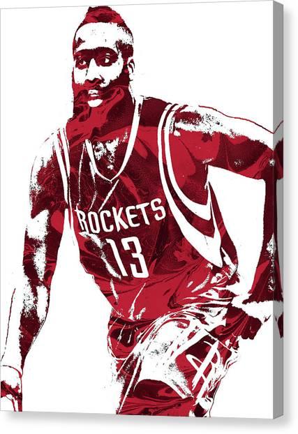 Houston Rockets Canvas Print - James Harden Houston Rockets Pixel Art 4 by Joe Hamilton