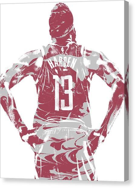 Houston Rockets Canvas Print - James Harden Houston Rockets Pixel Art 50 by Joe Hamilton