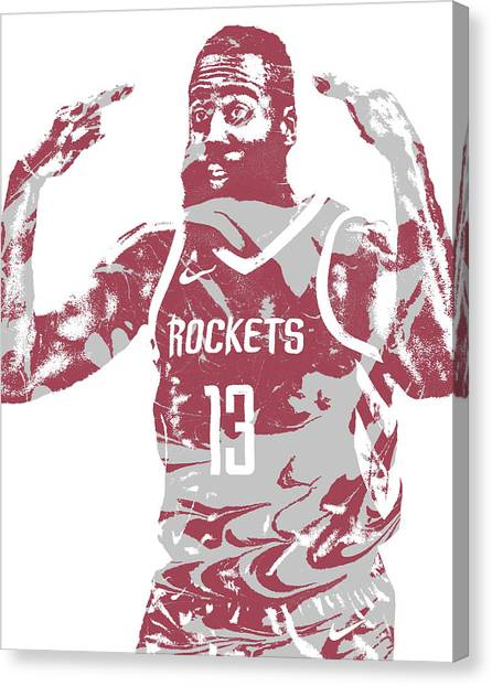 Houston Rockets Canvas Print - James Harden Houston Rockets Pixel Art 51 by Joe Hamilton