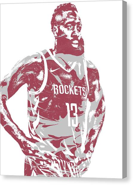 Houston Rockets Canvas Print - James Harden Houston Rockets Pixel Art 52 by Joe Hamilton
