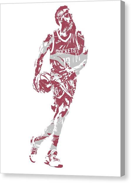 Houston Rockets Canvas Print - James Harden Houston Rockets Pixel Art 53 by Joe Hamilton