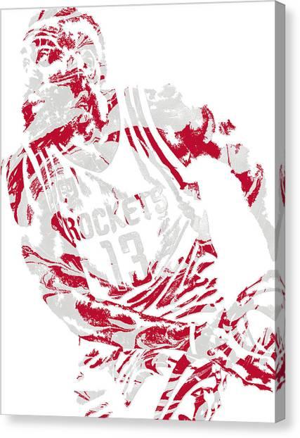Houston Rockets Canvas Print - James Harden Houston Rockets Pixel Art 7 by Joe Hamilton