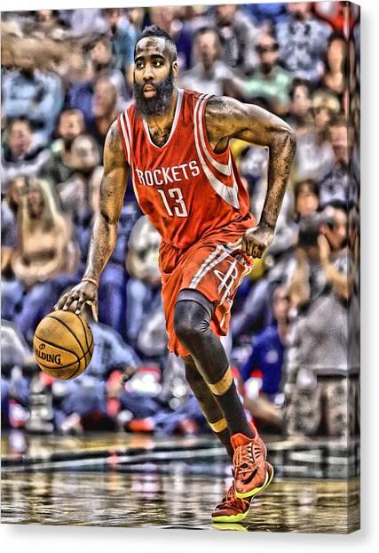 Houston Rockets Canvas Print - James Harden Houston Rockets Players Art 1 by Joe Hamilton