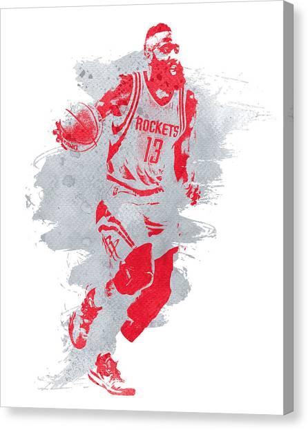Houston Rockets Canvas Print - James Harden Houston Rockets Water Color Art by Joe Hamilton