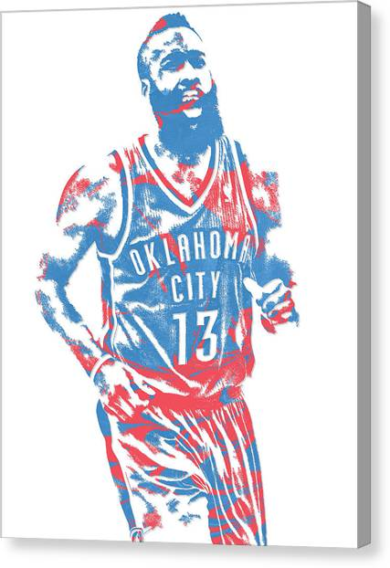 Oklahoma City Thunder Canvas Print - James Harden Oklahoma City Thunder Pixel Art 1 by Joe Hamilton