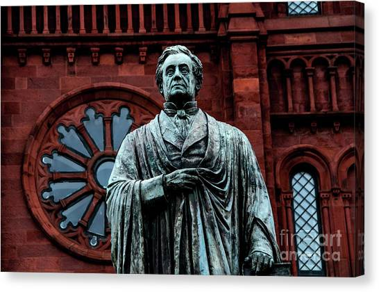 Smithsonian Institute Canvas Print - James Smithson Statue And Smithsonian Institute - Washington Dc by Gary Whitton