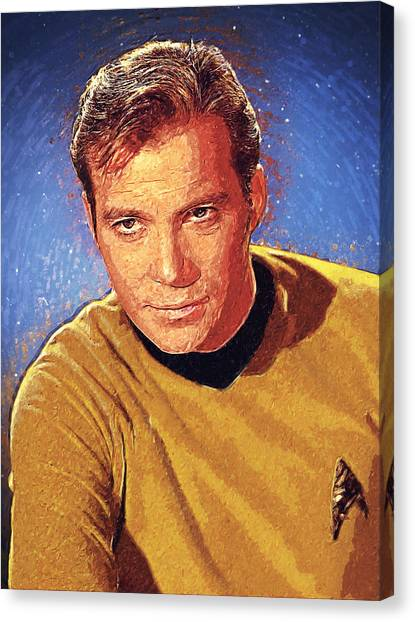 Starship Enterprise Canvas Print - James T. Kirk by Taylan Apukovska