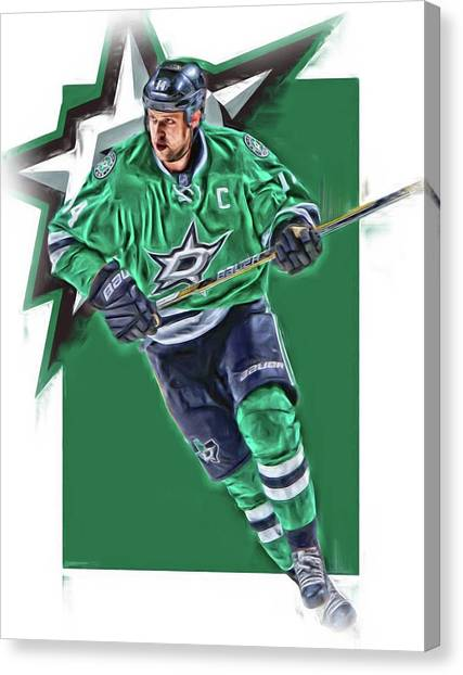 Dallas Stars Canvas Print - Jamie Benn Dallas Stars Oil Art Series 1 by Joe Hamilton