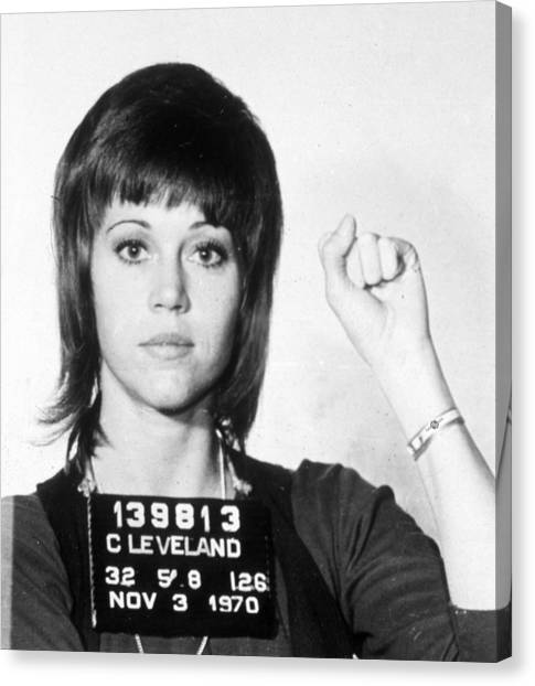 Jane Fonda Mug Shot Vertical Canvas Print