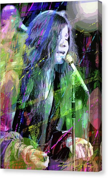 Big Brother Canvas Print - Janis Joplin Blue by David Lloyd Glover