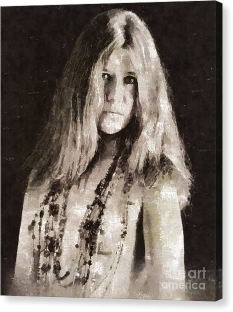 Janis Joplin Canvas Print - Janis Joplin By Mary Bassett by Mary Bassett