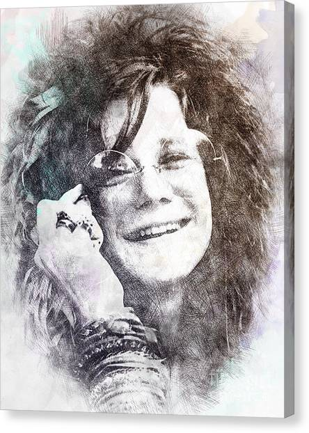 Janis Joplin Canvas Print - Janis Joplin Portrait 01 by Pablo Romero