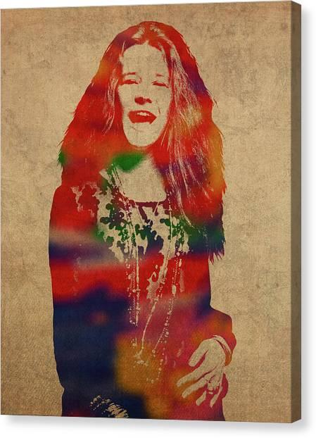 Janis Joplin Canvas Print - Janis Joplin Watercolor Portrait by Design Turnpike