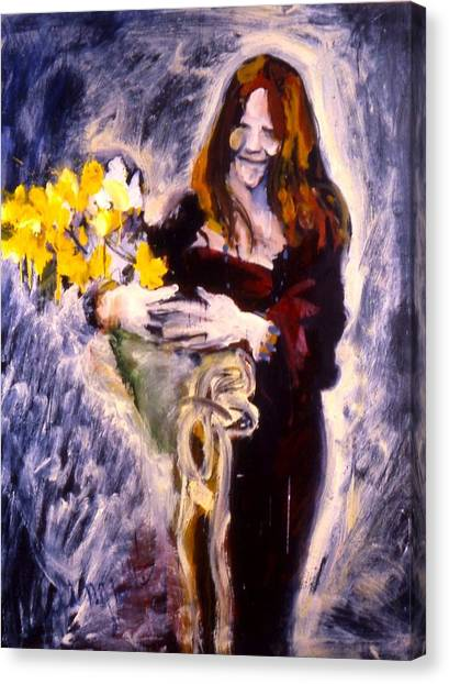 Janis With Yellow Roses Canvas Print