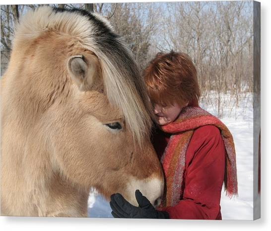 January Fjord And Friend Canvas Print by Laurie With