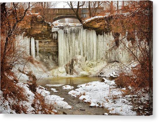 January Melt At Wequiock Falls  Canvas Print