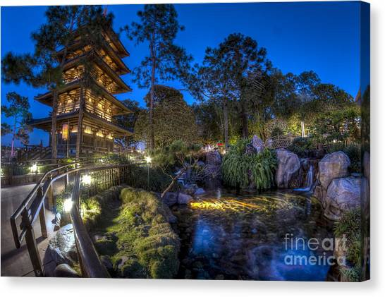 Japan Epcot Pavilion By Night. Canvas Print