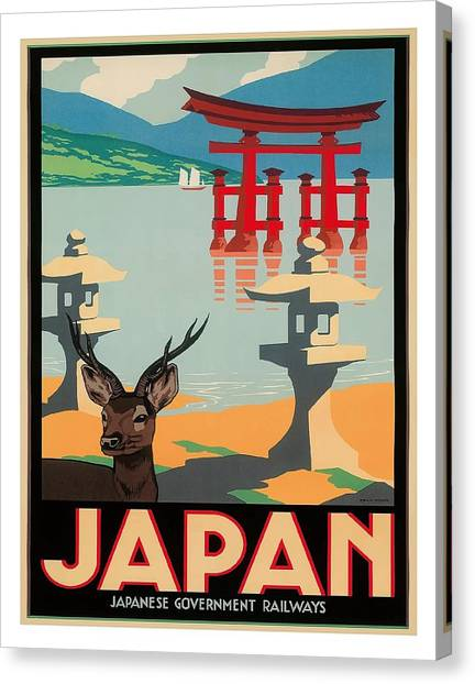 Bullet Trains Canvas Print - Japan Hakone Shrine Lake Ashi Vintage Travel Poster by Retro Graphics