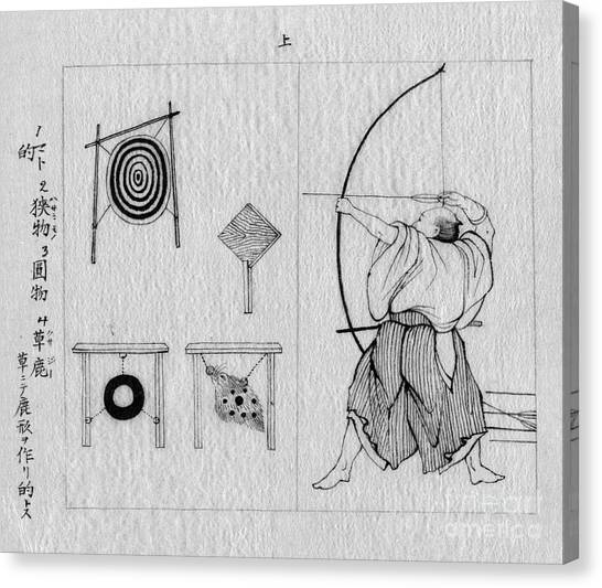 JAPANESE ARCHER WARRIOR SHOOTING AT TARGETS JAPAN PAINTING ART REAL CANVAS PRINT